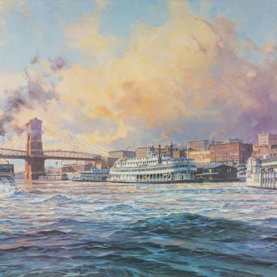 Michael Blaser, (American, 20th Century) - Old Cincinnati, just before