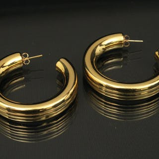 PR OF LARGE 18K Y/G HOOP EARRINGS;  12.0 GR TW