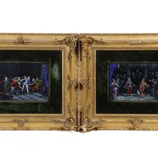 PR OF FRAMED FRENCH ENAMEL ON COPPER OF ELIZABETHAN COURTIERS