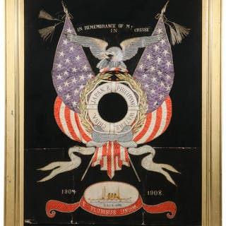 FRAMED STITCHWORK, 1904-1908 US NAVY COMMEMORATIVE, ASIAN MADE