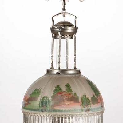 ALADDIN MODEL 12 NICKEL KEROSENE FOUR-POST HANGING LAMP