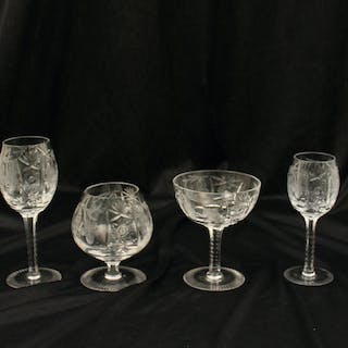 100 + PCS. OF CUT CRYSTAL STEMWARE