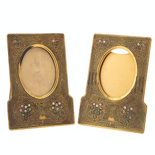 "A pair of Tiffany Studios ""Abalone"" gilt-bronze picture frames"