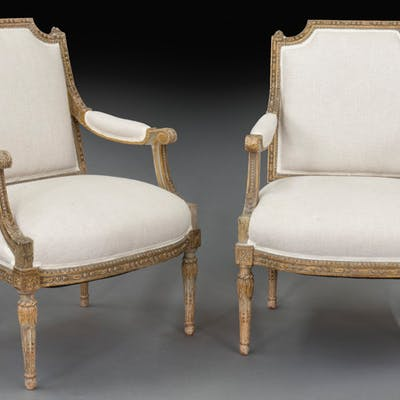 Pair of nicely carved Louis XVI style arm chairs