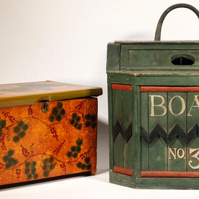 (2) FOLK ART PAINTED BOXES, ONE BY KRISTIN HELBERG