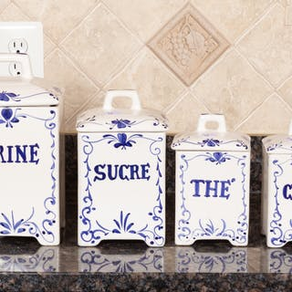 Set of Four Ceramic Kitchen Canisters