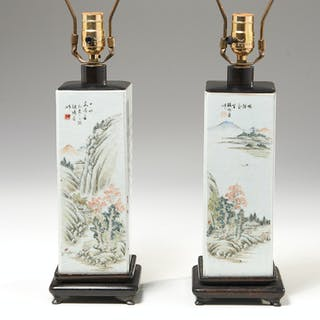 Chinese pair Famille Vert squared vase lamps