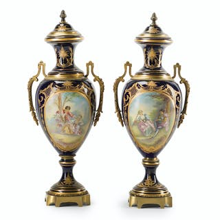 A pair of Sèvres-style urns