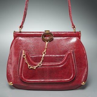 Vintage Gucci red lizard handbag