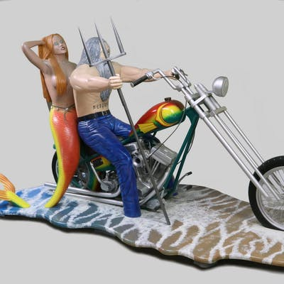 HANDCRAFTED LIFE-SIZE SCULPTURE OF MOTORCYCLE WITH RIDERS, MAINE STATE