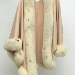 J Mendel white wool cape with fur trim