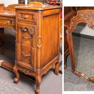 French Provincial Style Oak Dresser & Mirror