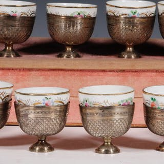 CASED SET OF (12) OTTOMAN SILVER CUP HOLDERS & (10) RUSSIAN CUPS