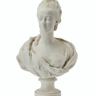 A French Sèvres white bisque bust of a maiden