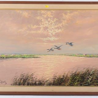 Martens. Ducks Flying Over a Marsh