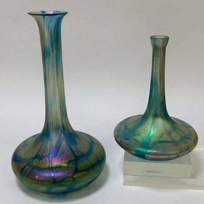 2PC Kralik Iridized Net Bohemian Art Glass Vases