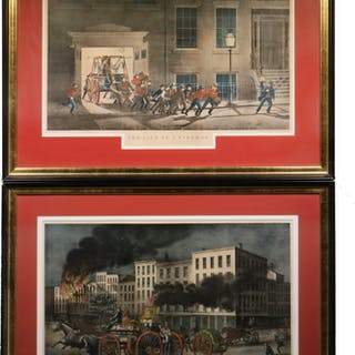 """PR OF PRINTS """"THE LIFE OF A FIREMAN"""" BY N. CURRIER, 1854"""