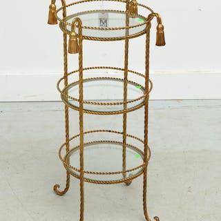 Italian gilt metal rope and tassel etagere