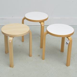 (3) Alvar Alto for Artek stacking stools