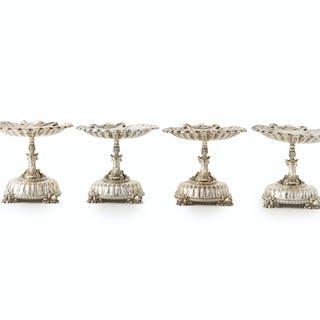 Four E.F. Caldwell & Co. neoclassical silver tazzas