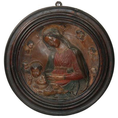 PAINTED PLASTER RONDEL OF MADONNA AND CHILD
