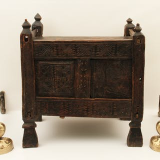 3 PC.; FRENCH PANTIERE AND PR. ANDIRONS