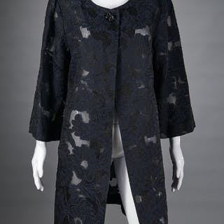St. John Couture black lace evening coat