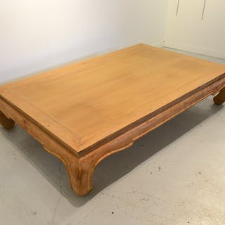 Large Michael Taylor style limed oak coffee table