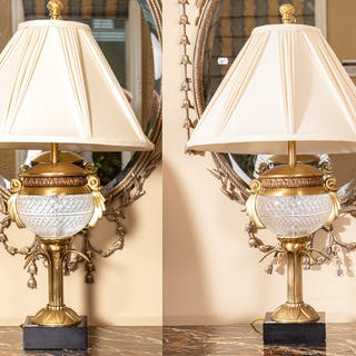 Pair of Contemporary Brass & Glass Table Lamps