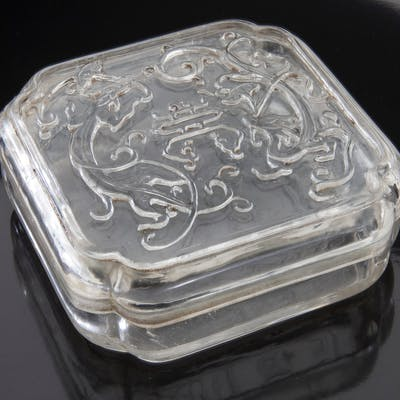 Chinese Qing carved rock crystal scholar box