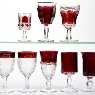ASSORTED EAPG - RUBY-STAINED DRINKING ARTICLES, LOT OF EIGHT
