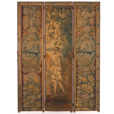Antique Three-Panel Room Screen, French Tapestry ca. 17/18th Century