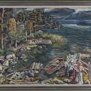 OLLE NORDBERG. Efter fisket, olja på duk, signerad och daterad -37.
