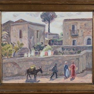 """OLLE NORDBERG. """"Taormina"""", olja på pannå, signerad och daterad Taormina -26."""