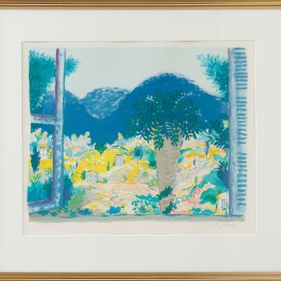 LENNART JIRLOW. Vy genom öppet fönster, litografi, signerad och numrerad