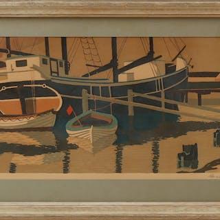 LARS NORRMAN. Båtar, litografi, sign o numr 59/260.
