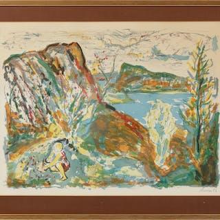 ALBIN AMELIN. Landskap med figur, färglitografi, signerad.