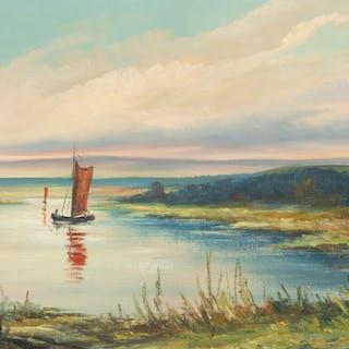 CARL JULIUS. Fiskebåt vid kusten, olja på duk, signerad R. Schneider.