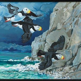 """FOLKE LIND. """"Hornlunnefåglar"""", Alaska. Olja på duk, signerad och daterad -88."""