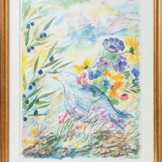 LENA LINDERHOLM. Stilleben med blå fågel, färglitografi, signerad