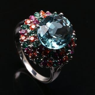 RING, silver, Zirkoner, Aquamarine.