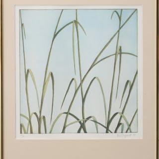BO CRONQUIST. Färglitografi, grässtrå, signerad, numrerad 22/75.