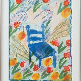 LENA LINDERHOLM. Den blå stolen. Färglitografi, signerad och numrerad 68/225.