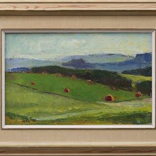 OLGA TESCH-HALLSTRÖM. Landskap, olja på duk, signerad och daterad 1956.
