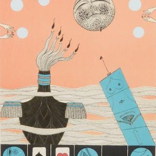 MAX WALTER SVANBERG. Komposition, färglitografi, signerad Max Walters.