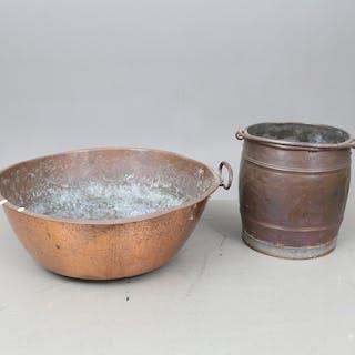 KOPPARFÖREMÅL, 2 delar, 1800-tal.
