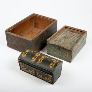 TRÄLÅDOR, 3 stycken, 1800/1900-tal.