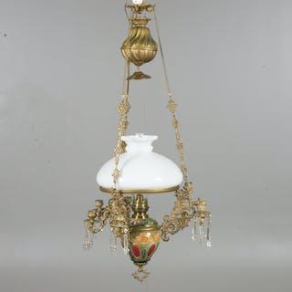 TAKFOTOGENLAMPA, majolika med prismor, sent 1800-tal.