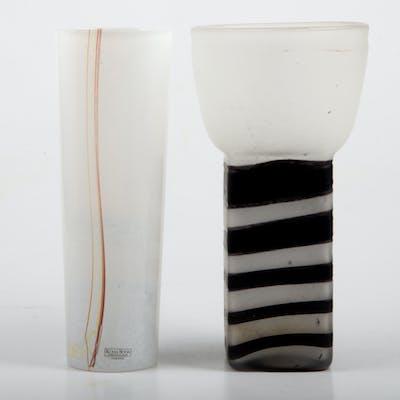 """VASER, 2 stycken, glas, bl. a. """"Rainbow"""", Bertil Vallien, Kosta Boda."""