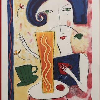 CATRINA B LILJEGREN. Kvinna, färglitografi nr 62/190, signerad och daterad -93.